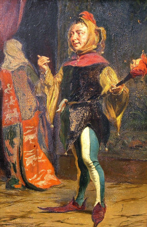 The Court Jester Oil on panel, signed with mon...