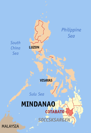 Map of the Philippines with Cotabato highlighted