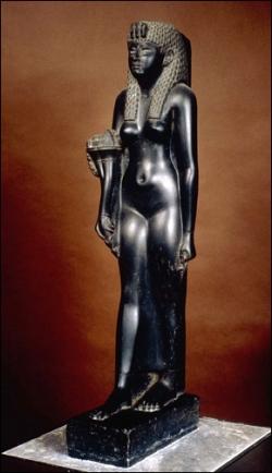 Black basalt statue of Ptolemaic queen Cleopat...