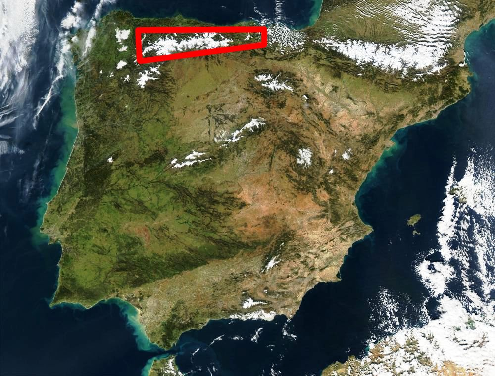 Approximate location of the Kingdom of Asturias on the Hispanic Peninsula from Wikipedia