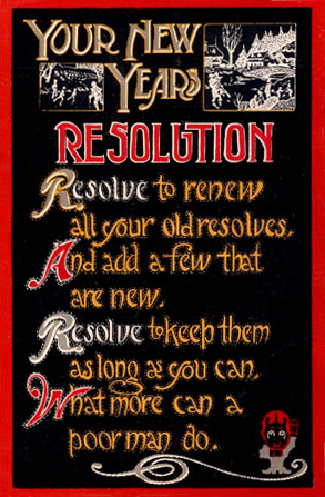 English: New Year's Resolutions postcard