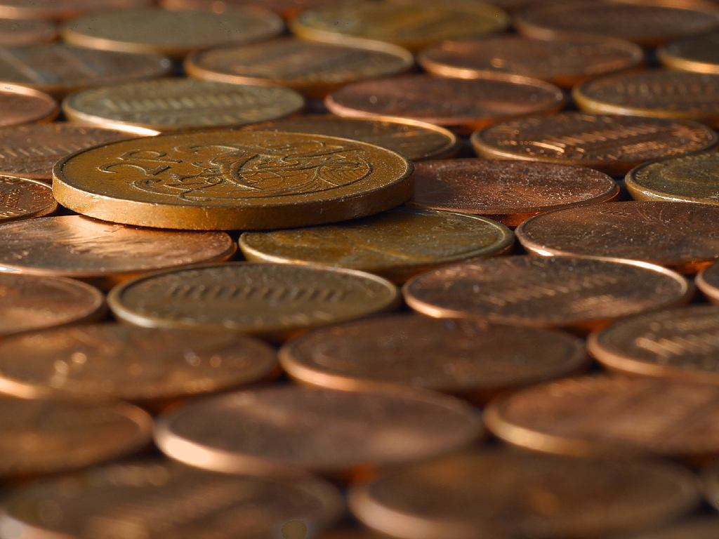 Some pennies. Photo by Dodo. Wikimedia commons.