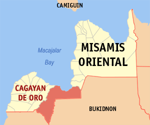 English: Map of Misamis Oriental showing the l...