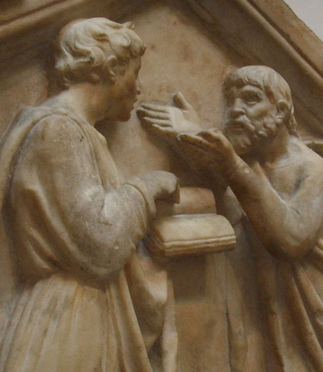 Platón y Aristóteles discutiendo. Detalle de un bajo-relieve de Luca della Robbia, siglo XV, Florencia, Italia.