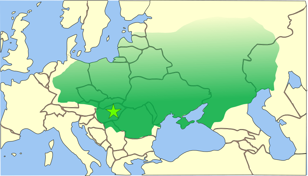 The Hunnic Empire at its peak under Attila, c. 437 - 453