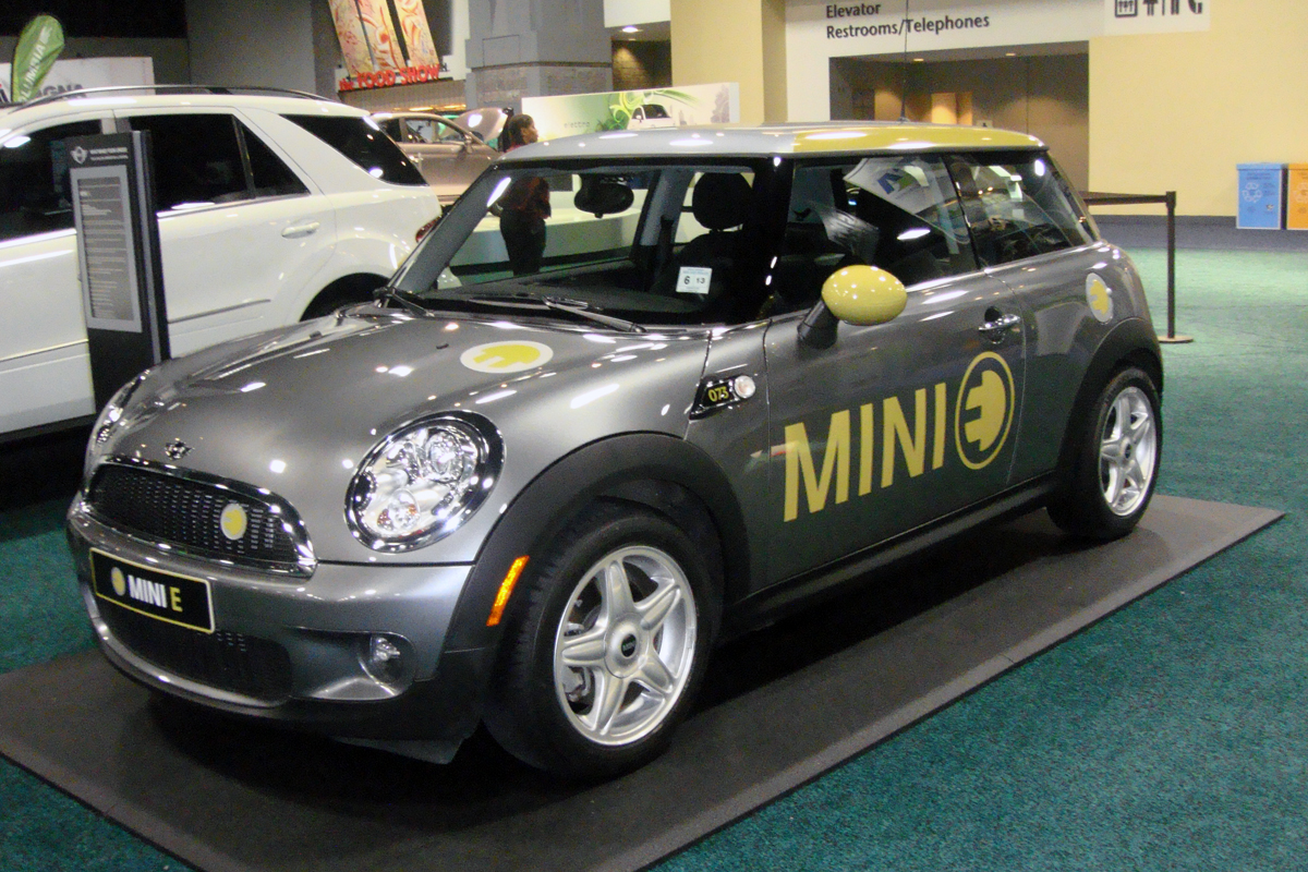 English: BMW Mini E (electric vehicle) at the ...