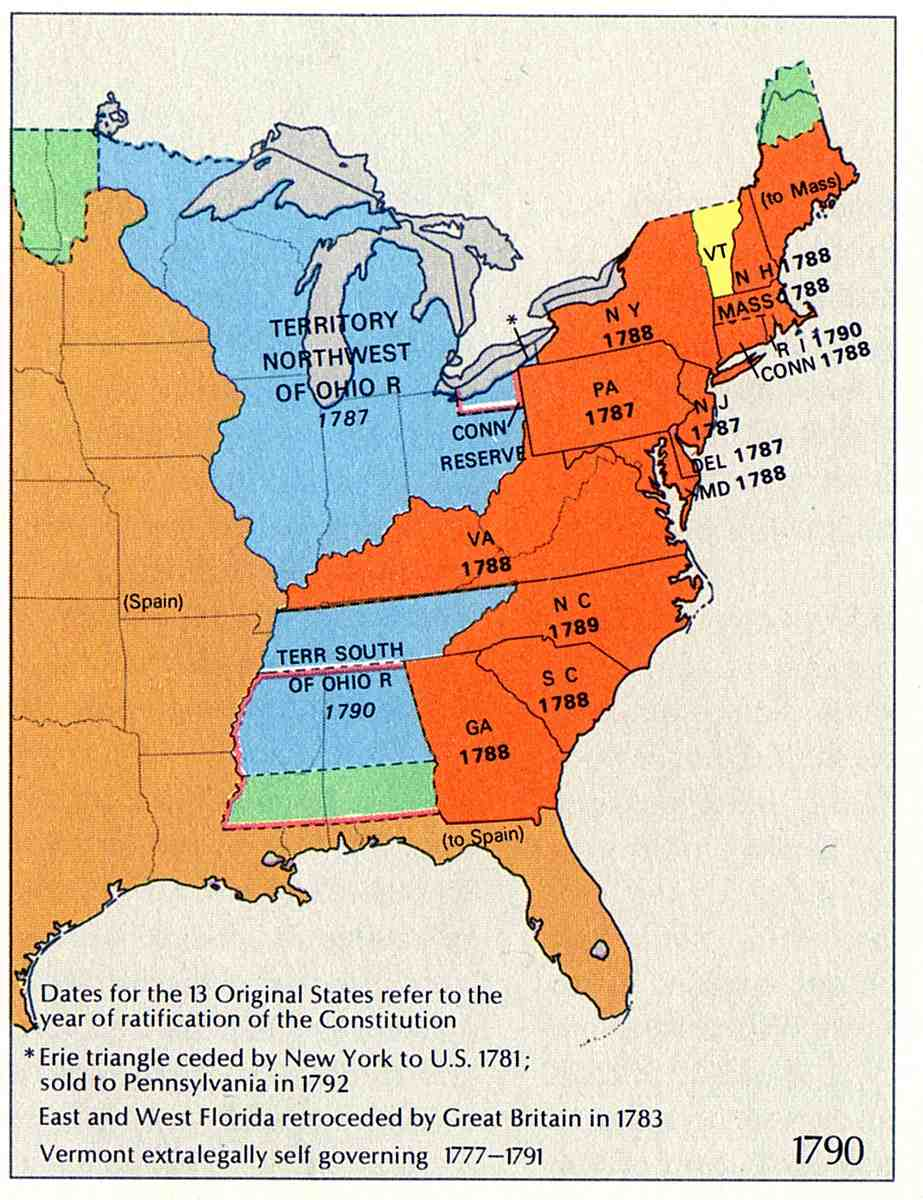 Map of U.S. Territorial Growth 1790 showing Spanish Territories