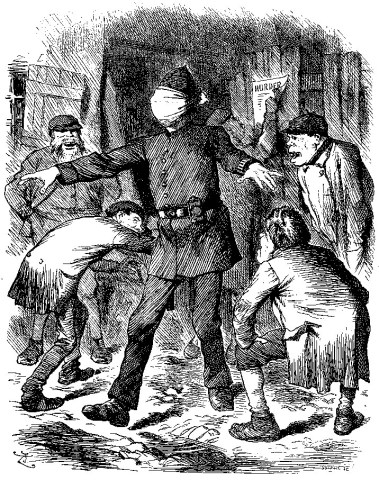 Drawing of a blind-folded policeman with arms outstretched in the midst of a bunch of ragamuffin ruffians