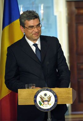 Romanian Foreign Minister Teodor Baconschi at ...