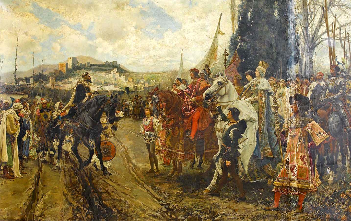 The Capitulation of Granada, by Francisco Pradilla y Ortiz: Boabdil confronts Ferdinand and Isabella. 1882