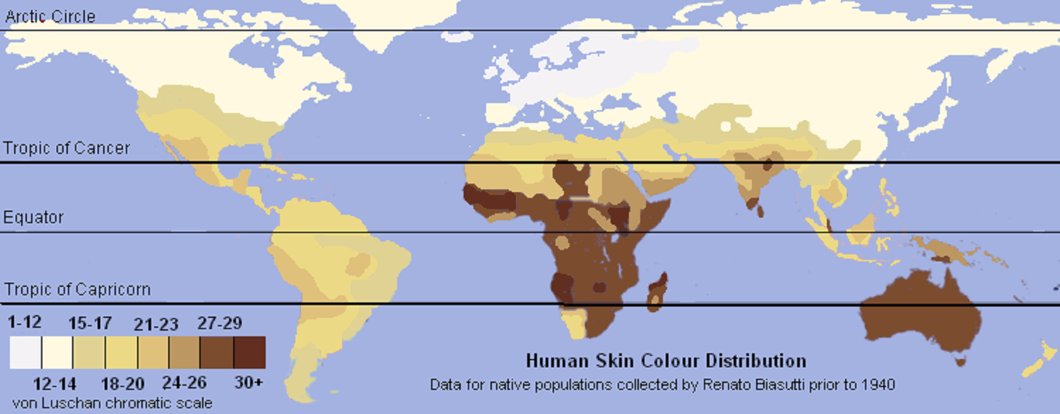 The von Luschan scale-based map of worldwide indigenous skintones again
