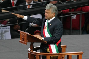 English: Andrés Manuel López Obrador being pro...
