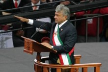 """López Obrador being proclaimed """"Legitimate President of Mexico"""" by his supporters in November 2006[88]"""
