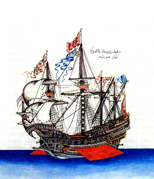 "Flaggschiff, das Bayezid II. sandte, um die Juden aus Spanien zu retten - ""Göke"" (1495) was the flagship of Kemal Reis Contemporary miniature from the Ottoman period, Topkapı Palace Library, Istanbul"