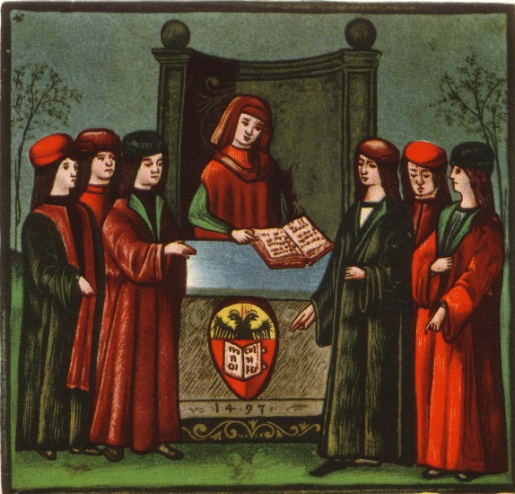 "Students enter the ""Natio Germanica Bononiae"", the german nation at the university of Bologna, image from the 15th century"