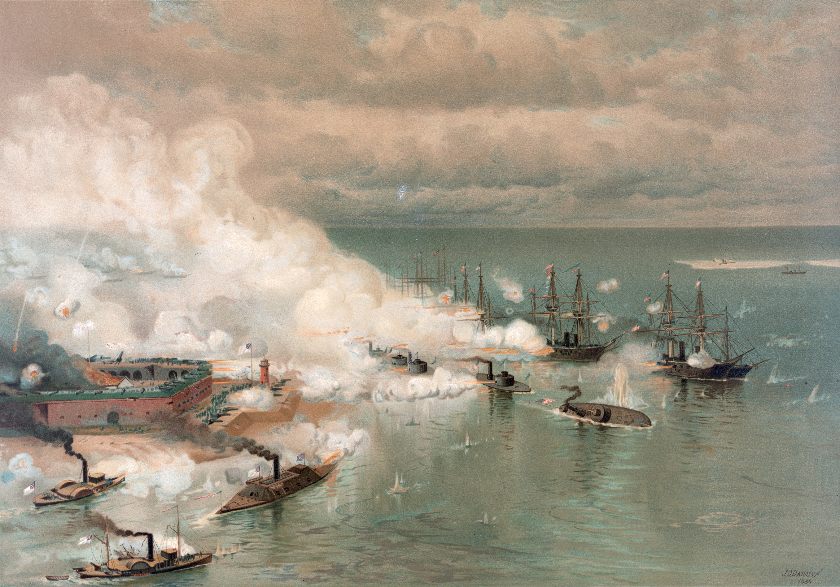 Julius O. Davidson's painting (published by Louis Prang) of the Battle of Mobile Bay, August 5, 1864.