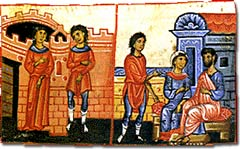Scenes of urban life in Byzantium. Left illumi...