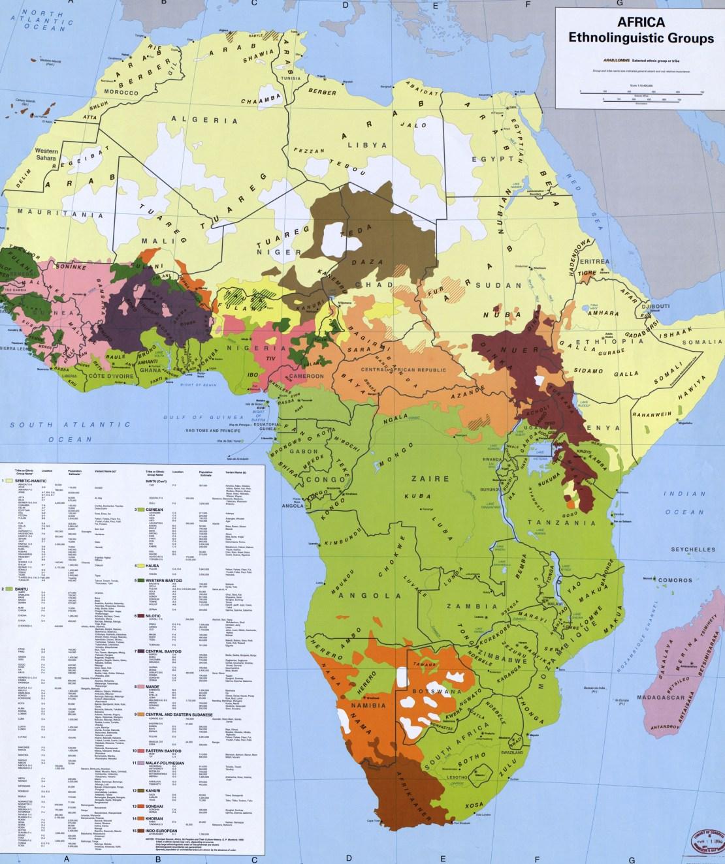 George Murdock's Ethnolinguistic groups of Africa map, 1996