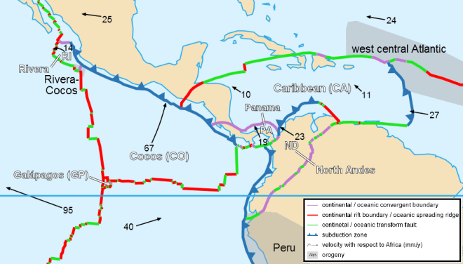 Tectonic plate boundaries in the Caribbean Sea.