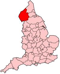 Location of Cumbria in England