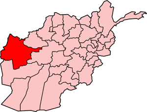 Map of Afghanistan with Herat highlighted