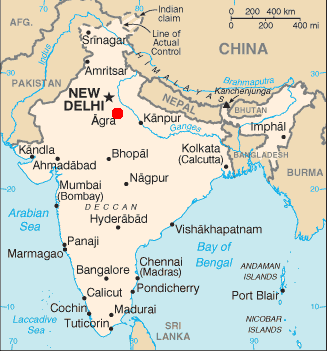 Ficheiro:Map of india position of Agra highlighted.png