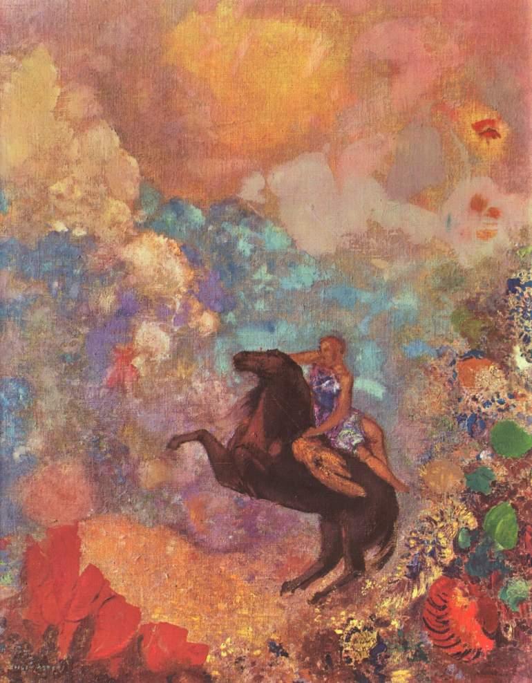 A Muse on Pegasus by Odilon Redon
