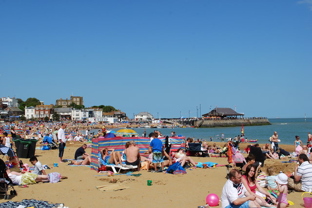 Busy bank holiday on Broadstairs beach by William
