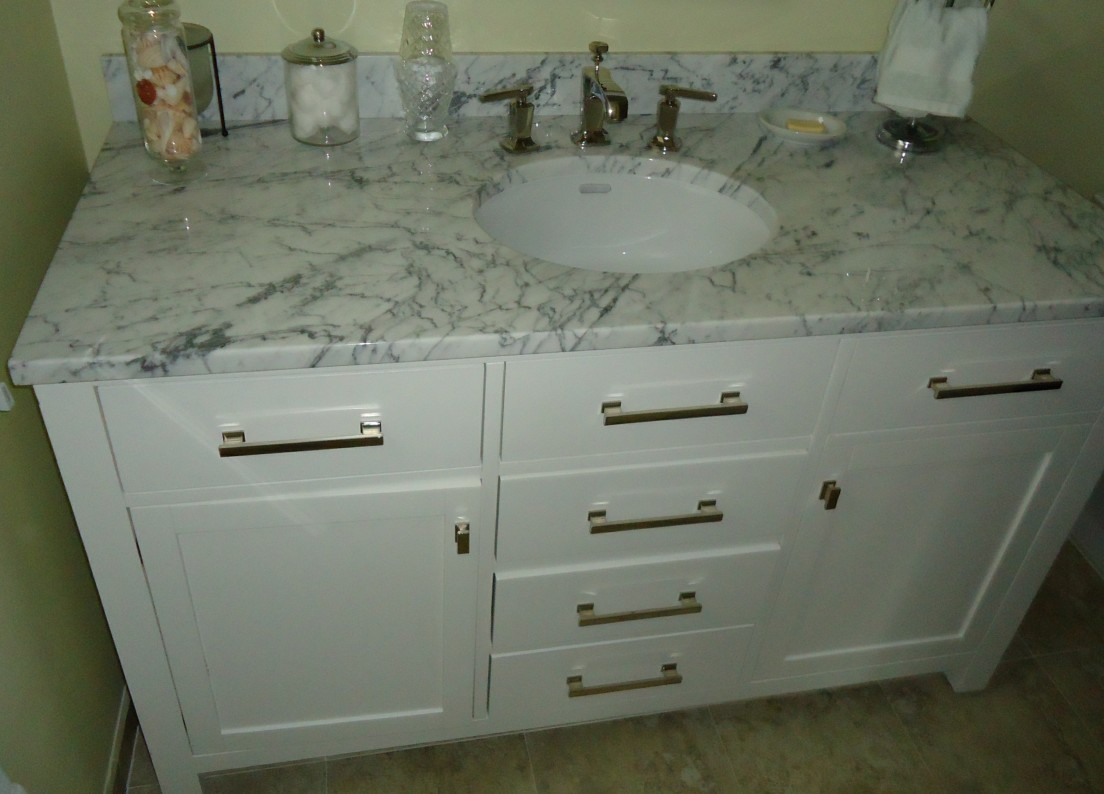 Bathroom vanity cabinet including sink and drawers White Kitchen Sink Faucets