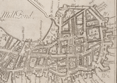 1743 map of Boston by William Price showing the North End and vicinity.