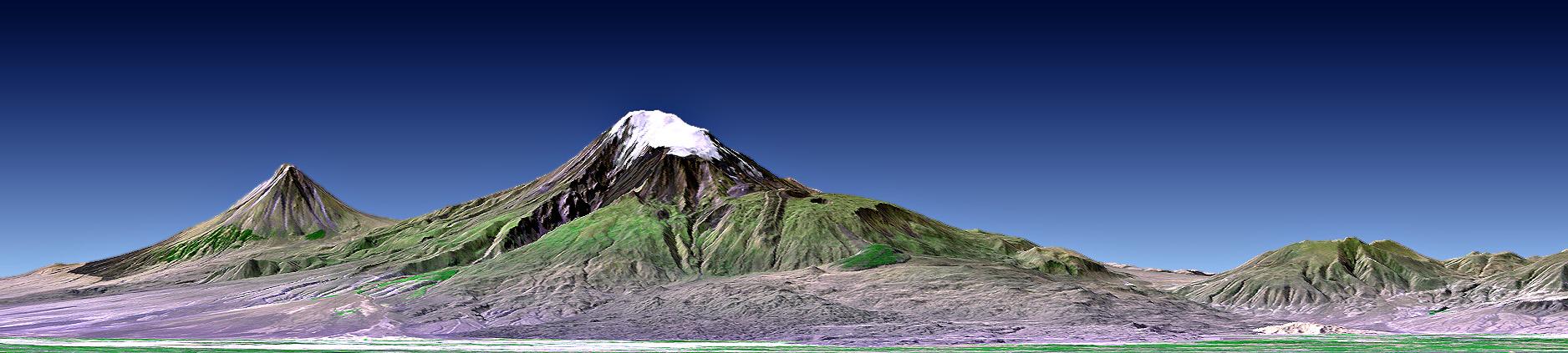 El Gran Ararat (en el centro) y el Monte Masis (a su izquierda) (Landsat, NASA)