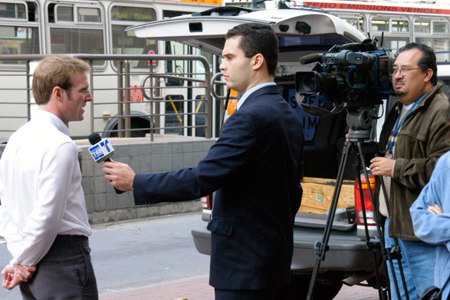An interview for television.