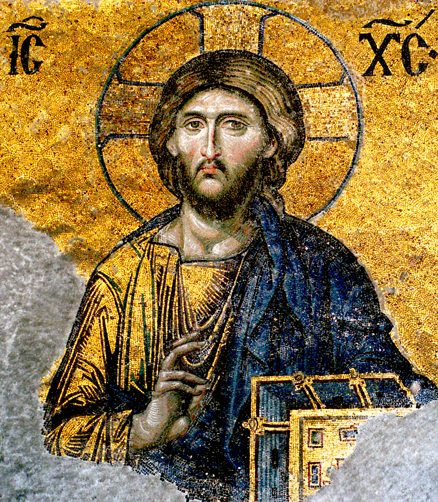 """Jesus Christ - detail from Deesis mosaic, Hagia Sophia, Istanbul"" photo by Edal Anton Lefterov; from Wikipedia."