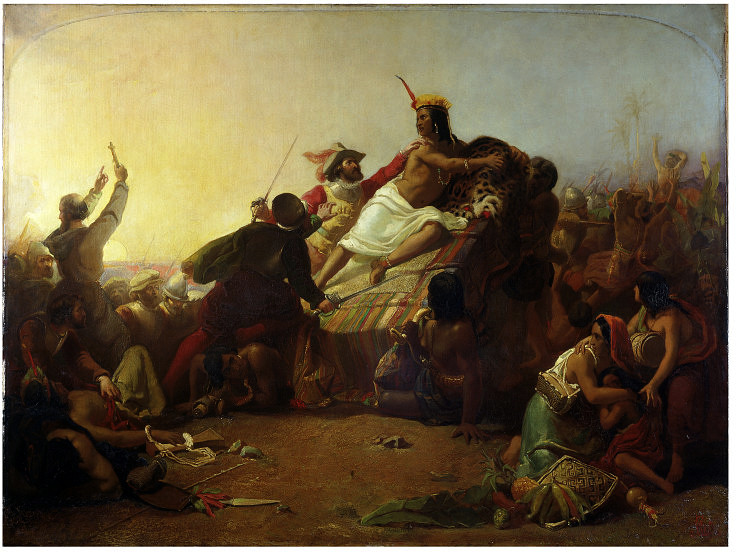 John Everett Millais - Pizarro seizing the Inca of Peru (1845)