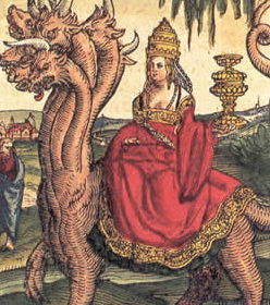 Pope Joan with tiara as the Whore of Babylon.