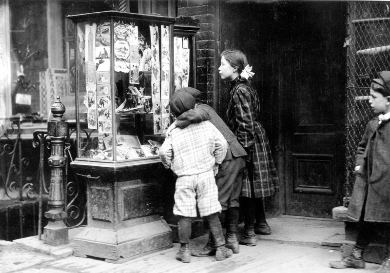 Some children looking at a selection of Christ...