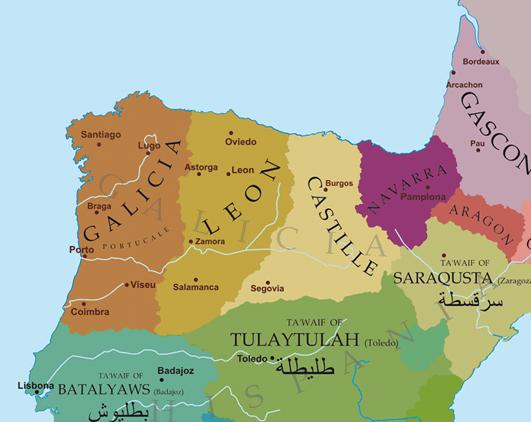 Mapa político del norte de la Península Ibérica hacia 1065 con el reparto de los reinos de Fernando I entre sus hijos.