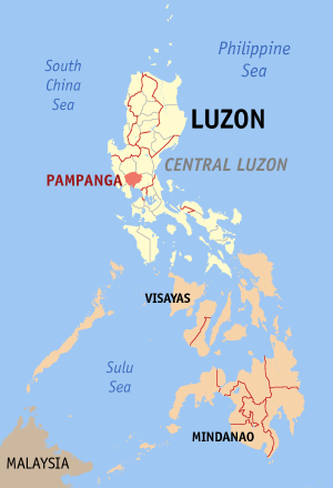 Map of the Philippines with Pampanga highlighted