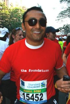 English: Indian actor Rahul Bose running in th...
