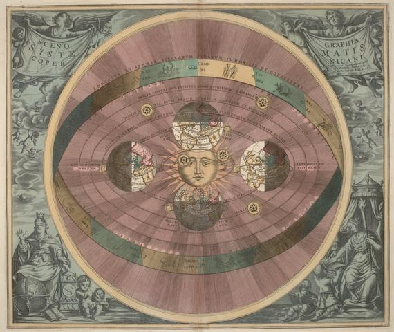 Image of the solar system from the book by Andreas Cellarius Harmonia Macrocosmica (1708)
