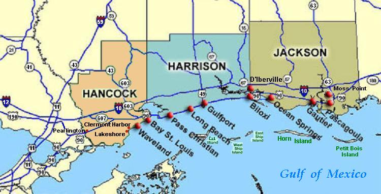 Pass Christian, Mississippi (map center) is east of Bay St. Louis, along the Gulf of Mexico