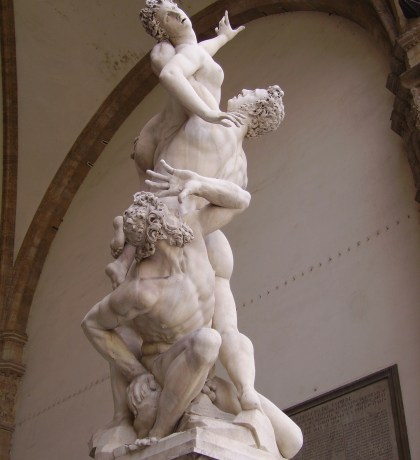 Giambologna, <a href= http://pt.wikipedia.org/wiki/Maneirismo target=_blank>O rapto da Sabina</a>, Loggia dei Lanzi, Florença, 1582