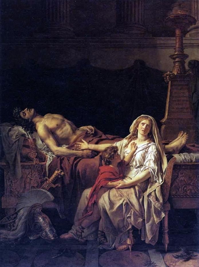 une femme assise avec son enfant, se lamente auprès du cadavre d'un homme couché torse nu