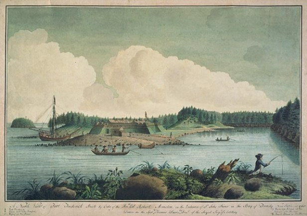 A North View of Fort Frederick built by order of Hon. Col. Robert Monckton on the entrance of the St. John River in the Bay of Fundy, 1758 by Lt Thomas Davies National Gallery of Canada (no 6269)
