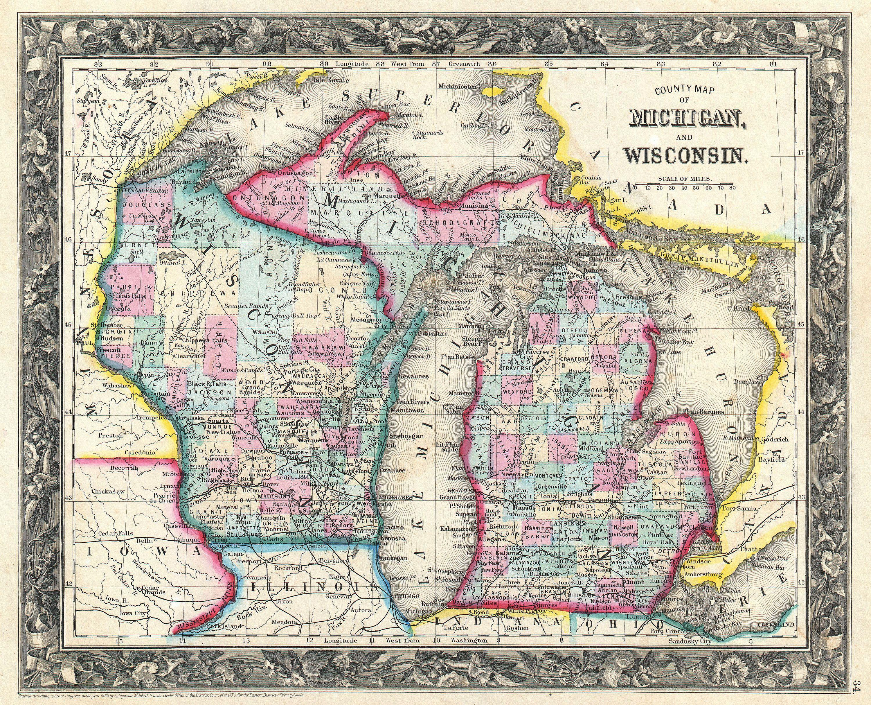 File 1860 Mitchell Map of Michigan and Wisconsin   first edition     File 1860 Mitchell Map of Michigan and Wisconsin   first edition      Geographicus