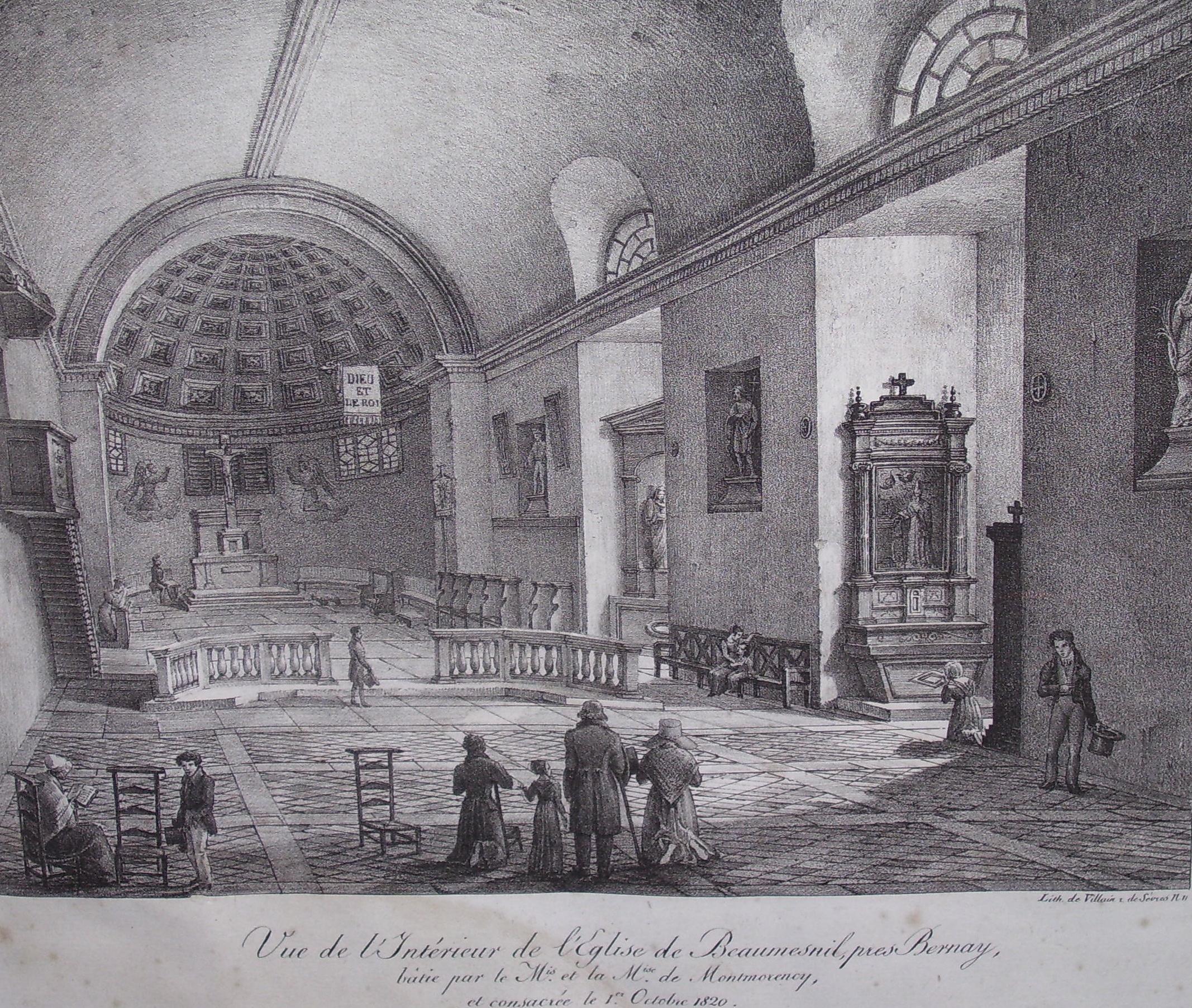 Das Innere der Kirche in Beaumesnil, Stich von Edouard-Auguste Villain (1829 - 1876), public domain/gemeinfrei