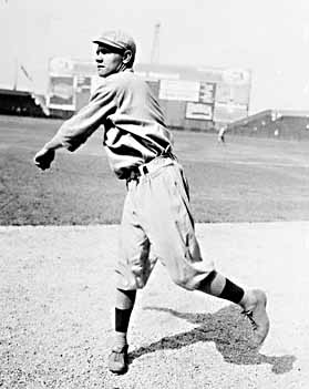 Babe Ruth pitching with Boston Red Sox, Comins...