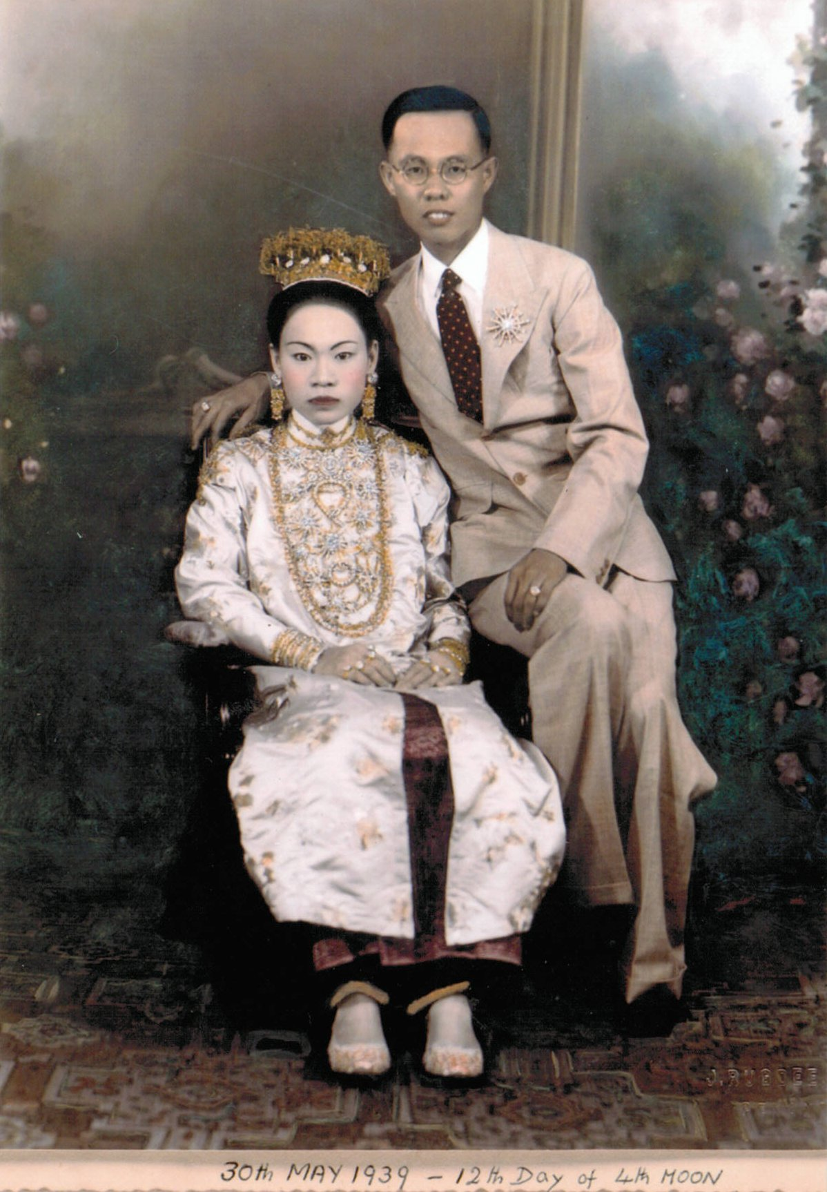 Fileanonymous Photograph Of A Peranakan Bride And Groom Dated  The Intan Singapore Jpg