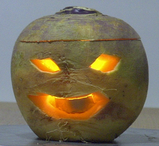 Turnip jack-o-lantern (couldn't find an image of a swede lantern)