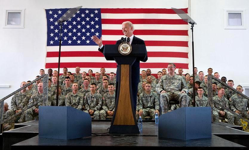 U.S. Vice President Joe Biden visiting troops ...